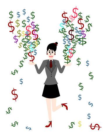 businesswoman: Businesswoman are make money, Vector cartoon concept