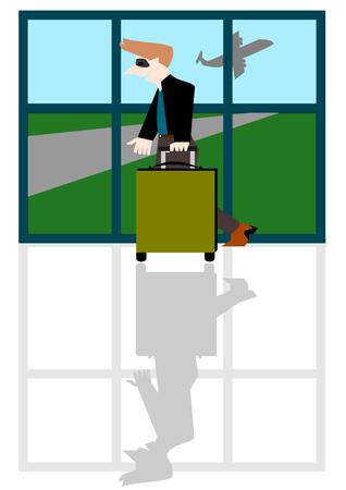 traveling: Businessman traveling, Vector cartoon concept