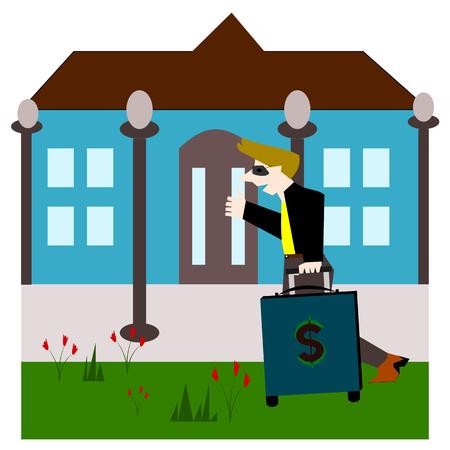 come home: Drag baggage money come home , Vector cartoon concept Illustration