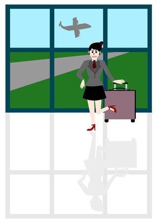 traveling: Businesswoman traveling, Vector cartoon concept Illustration