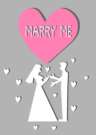 marry me: White silhouette marry me vector