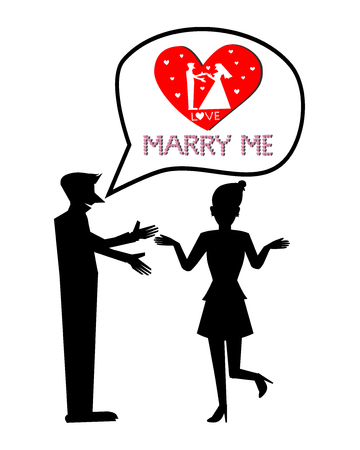 marry: Silhouette marry me vector Illustration