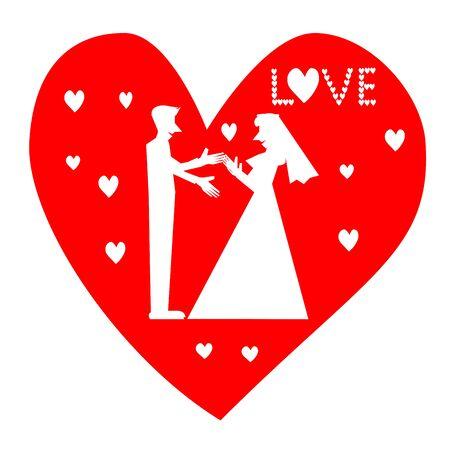carte invitation: White silhouette, wedding invitation card, Illustration