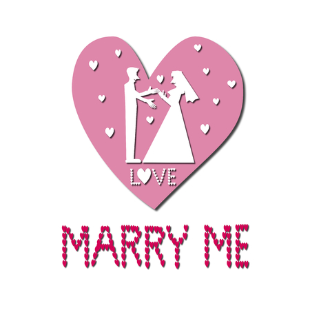 marry me: White silhouette marry me Illustration