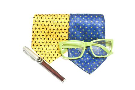 necktie: necktie, glasses, pen Stock Photo