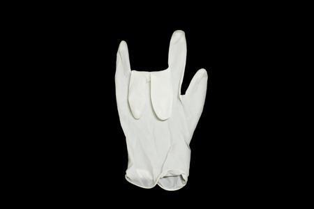 symbol hand: Gummihandschuh auf schwarzem Hintergrund, Liebe Symbol Hand