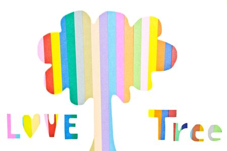 colorful tree: colorful tree, art from paper