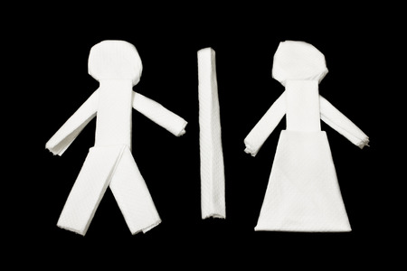 male female: Male Female Symbol, Toilet Symbol, Art from tissues paper Stock Photo