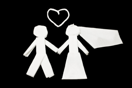 Tissues: Art from tissues, Married, Wedding cartoon Stock Photo