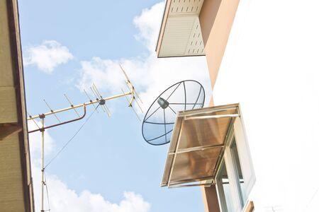 tv antenna: satellite dish and TV antenna