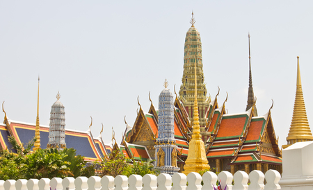 no name: Old temple, Temple of the Emerald Buddha, Wat Phra Kaew in Bangkok, Thailand. In Thailand public domain or treasure of Buddhism. no copyright, no name of artist appear.