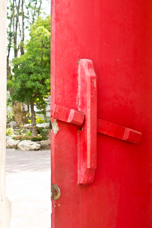 red door: Red Door, Wood door Stock Photo