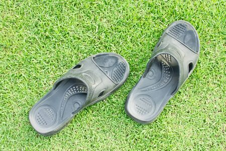 foot wear: Black slippers on grasses background Stock Photo