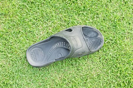 foot wear: Black slipper on grasses background