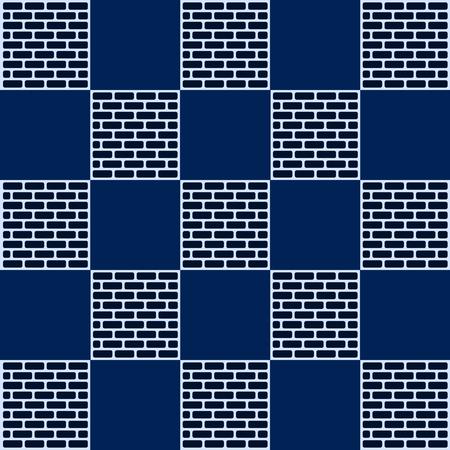 checkerboard: Checkerboard And Brick Blue Background Vector Illustration