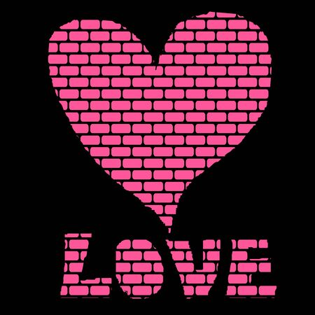 brick background: Rosa Brick Background a forma di cuore vettore