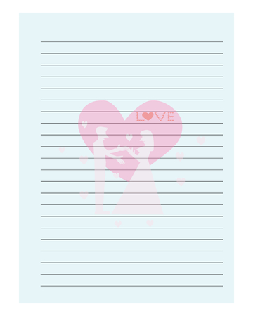 love picture: Couple love picture on notebook sheet, notebook sheet template design Illustration Stock Photo