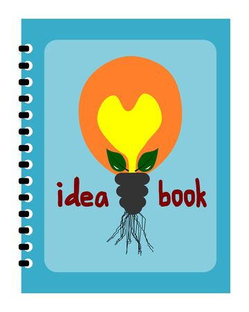 notebook cover: Bulb picture on notebook cover, notebook template design vector, idea book Illustration