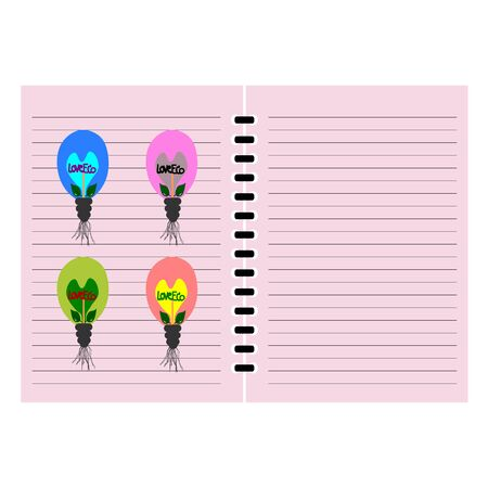 power saving lamp: Bulb love eco picture on notebook cover, notebook template design vector, idea book Illustration