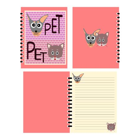 notebook cover: Dog and Cat cartoon picture on notebook cover, notebook template design vector Illustration