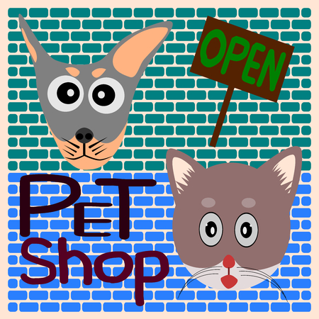 pet shop: Dog and Cat cartoon vector, label pet shop open