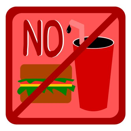 Not Allowed Sign, No food and drink sign, No food and drink symbol vector Illustration