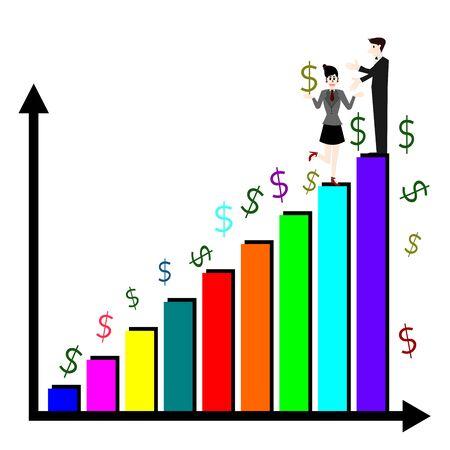 teamwork cartoon: Business success, Businesswoman and Businessman on top chart, Business concept vector Illustration