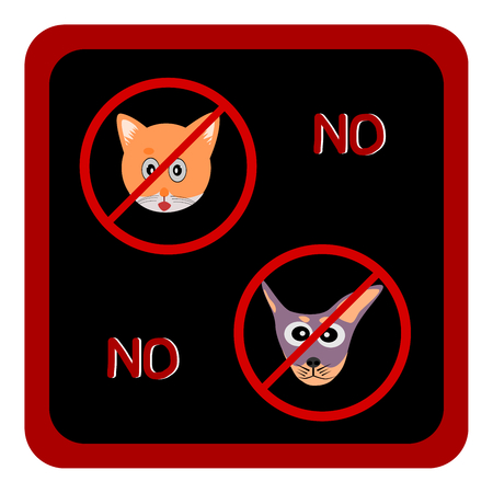 dog allowed: Not Allowed Sign, No dog and cat sign, No dog and cat symbol vector