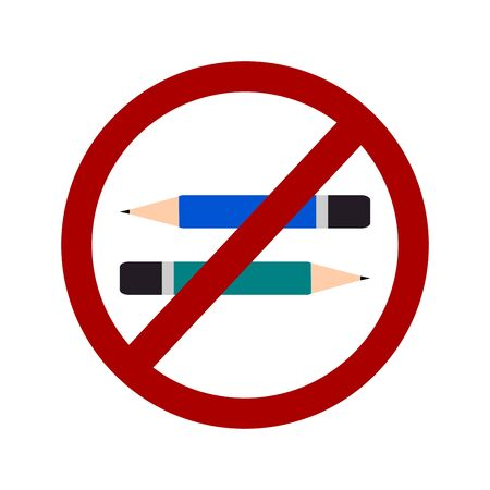 illegal zone: Not Allowed Sign, Do not write sign, Do not pencil symbol vector Illustration