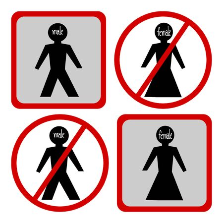 illegal zone: Male and Female symbol, Not Allowed Sign, No Male and Female sign, Do not enter Person symbol, Stop symbol vector