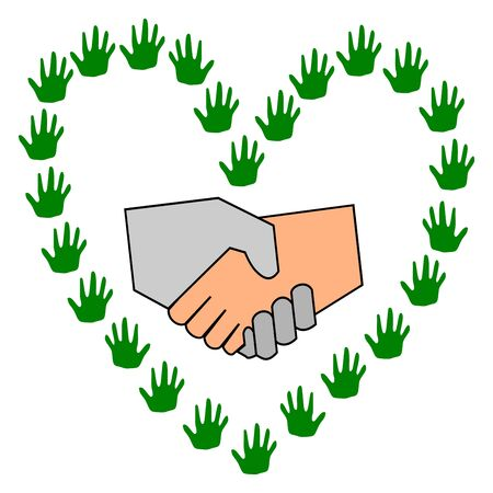 heart shaped: Shake Hand in hands arranged a heart shaped vector Illustration