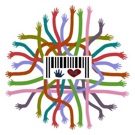 symbol hand: Hand shape symbol, Hand shape label, Colorful hand vector