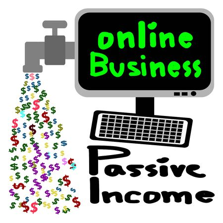 cash flow: Online business, Passive income, Cash flow vector Illustration