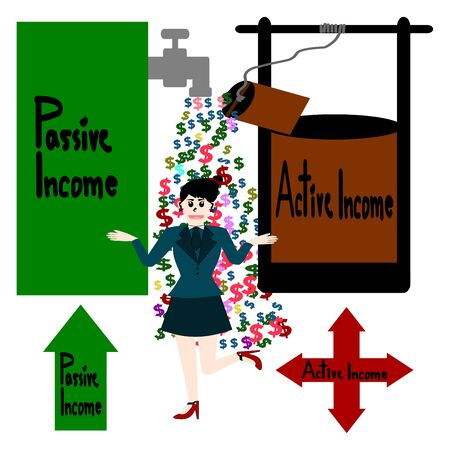 passive income: Passive income, Active income, Cash flow and businesswoman vector Illustration