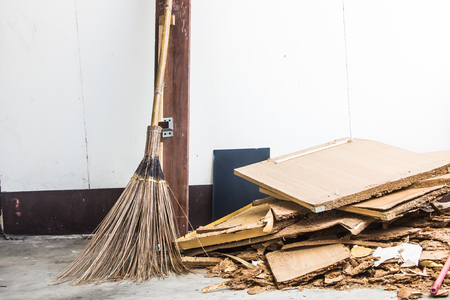 besom: Old broom Stock Photo