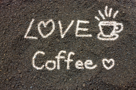 coffee grounds: Coffee grounds write love coffee
