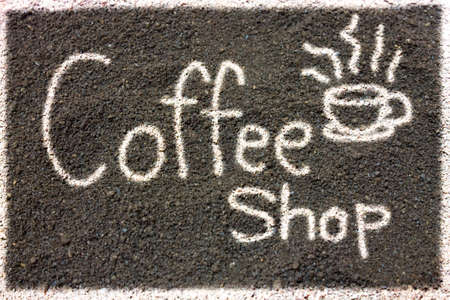 coffee grounds: Coffee grounds write Coffee Shop, Coffee Shop Label