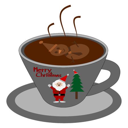 Merry Christmas, Art of coffee Snowman shape vector