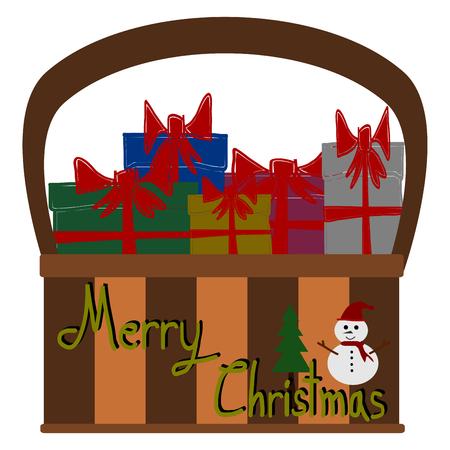 gift basket: Christmas Greeting Card, Merry Christmas, Gift box in basket, vector Illustration