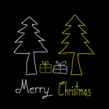 christmas tree illustration: Christmas Greeting Card, Merry Christmas, christmas tree and gift illustration Stock Photo