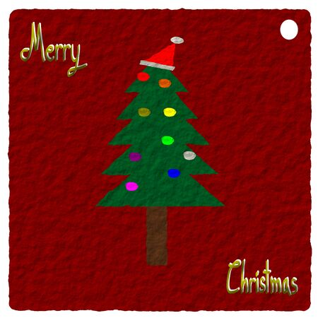 christmas tree illustration: Paper art, Christmas Greeting Card, Merry Christmas, christmas tree illustration Stock Photo