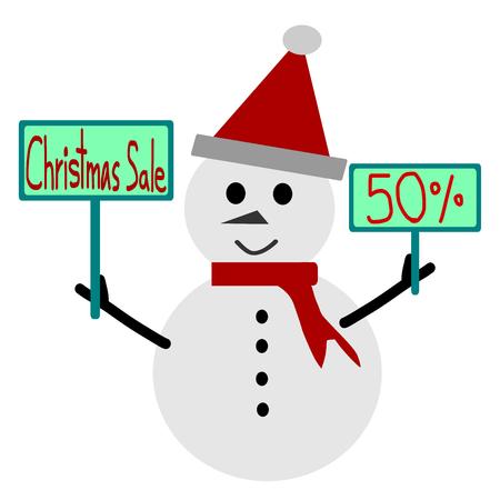 discount: Christmas sale, Christmas sale design template, snowman and Sale 50 percent discount label vector