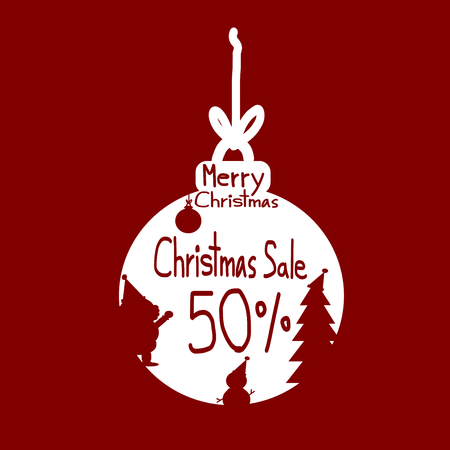 discount: Christmas sale, Christmas sale design template, Red Silhouette Santa Claus snowman on christmas ball and Sale 50 percent discount vector