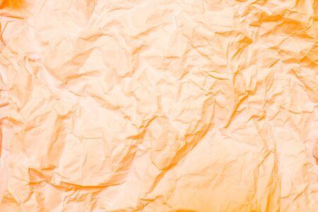 wrinkled paper: Orange crumpled paper, wrinkled paper
