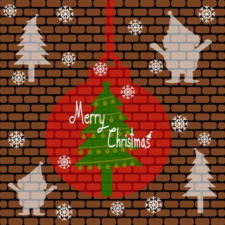 christmas tree illustration: Merry Christmas, Christmas Greeting Card, Silhouette Santa Claus, snowman, christmas tree and christmas ball illustration Stock Photo