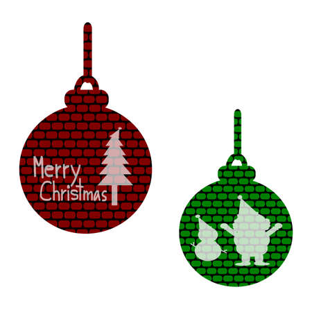 christmas tree illustration: Merry Christmas, Christmas Greeting Card, Silhouette Santa Claus, snowman, christmas tree and christmas ball illustration Stock Photo