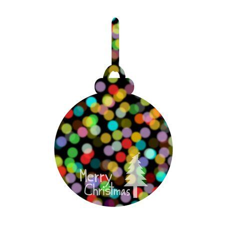 ball lights: Blurred lights, bokeh circles, Merry Christmas, Christmas Greeting Card, Silhouette Colorful christmas ball illustration