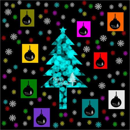 ball lights: Blurred lights, bokeh circles, Merry Christmas, Christmas Greeting Card, Silhouette Blue christmas tree and christmas ball illustration