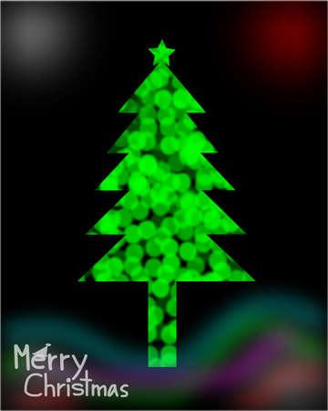 blinking: Blurred lights, bokeh circles, Merry Christmas, Christmas Greeting Card, Silhouette Green christmas tree illustration