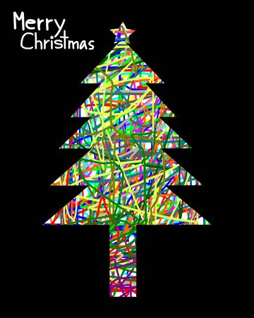 christmas tree illustration: Merry Christmas, Christmas Greeting Card, Silhouette Colorful christmas tree illustration